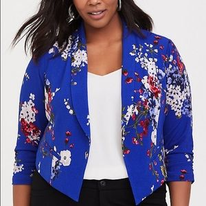 Blue Floral Crepe Blazer Plus Size